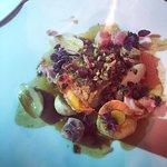 Filet de lieu jaune, pomme-os végétale, champignons et lard fermier
