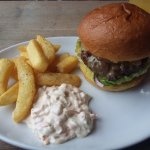 This is the lovely Charlcroft Farm Hampshire steak burger with chunky chips & homemade slaw.