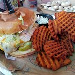 Cheese Lover's Burger with sweet potato fries