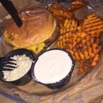 Fried Mac & Cheese Burger with sweet potato fries