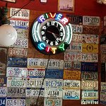 All of the walls were covered with license plates
