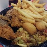 Fried chicken, BBQ (under the fries) and Brunswick Stew.