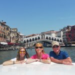 Madison, Sam & George on private boat tour, Grande Canal, Venice