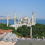 view of blue mosque from the terrace restaurant of Arcadia Blue hotel