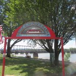 Sign near the walking bridge