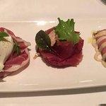 (top to bottom) Burrata with ham, Smoked beef with foie gras, Vitello Tonnato.