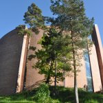 Beautiful Søm Church near by, with a fantastic story and a wonderfulcolored glass line