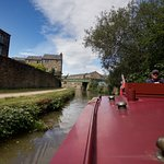 Our canal boat traveling on Leeds canal