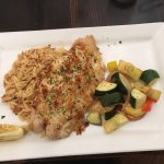 Grouper entre with risotto and vegetables