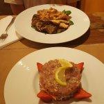 Tartare de thon ; poulet aux légumes