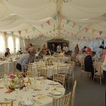 The marquee ready for the wedding breakfast