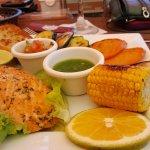 Salmon, Las Brumas sliced carrots, 1/2 ear corn, 1/2 potato, sliced eggplant, zucchini, etc.
