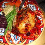 Baked chicken, green beans, rice, red cabbage