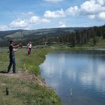 fly fishing at the pond