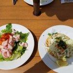 Shrimp Stuffed Avocado and Halibut Taco