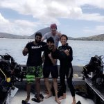 Just finished my scuba cert dives with instructor Aaron and my new dive buddies Hash and Shyam.