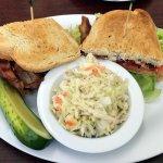 bacon lettuce & tomato sandwich with vinegar cole slaw