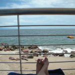 Enjoying beach view from my shaded lounger