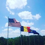 Tribute flags on the property