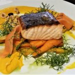 Scottish Salmon w/ baby carrots, kaffir lime yogurt & hazelnuts.