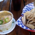 QUESO FUNDIDO Chile Verde with Melted Cheese and Fresh Tortilla Chips