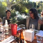 sunshine, smoking fire, good food and freinds -what more does one need ?