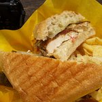 GRILLED CHICKEN PANINI W/PROVOLONE, AOILI AND FRESH TOMATO
