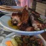 Grilled Kalamari, Med Chicken