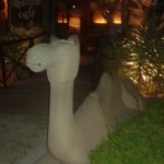 at the inner entrance of open dinning area this magnificent carved camel.