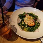 Salmon on bed of spinach - $15.20