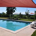Shade sails over a 100 M2 salt water pool