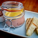 Smooth chicken liver pâte in a jar, with a cider apple chutney