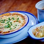 Braised shin of beef cottage pie, with cauliflower cheese and a jug of rich gravy