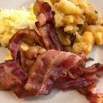 Scrambled eggs, bacon, potatoes.  Very good value.