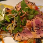 Linefish Special - seared sesame crusted tuna with stir-fry veg
