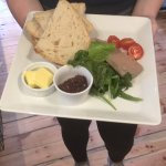 Homemade pate with red onion relish