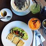avocado toast, porridge and fresh juice