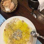 carpaccio of shrimps and baby eels w/ hot galic olive oil