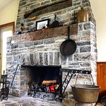 The rustic stone fireplace!
