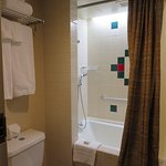 Separate room with shower and toilet