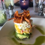 Crab, mango, and avocado stacked