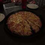 A view of our pizza...it was actually decent