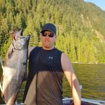 Traveler, salmon fishing localy staying at Inn-Nature Retreat & Spa