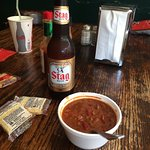 "Stag beer and a bowl of ""red"", great way to start your meal!"