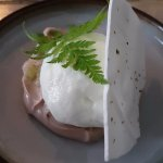 CHOCOLATE MOUSSE with chervil granita, buttermilk foam and meringue