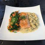 Baked Salmon with potato gnocchi and veggies...great!