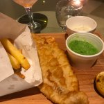 Fish and chips (comes with mushed peas)