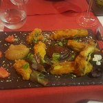 Off-menu vegan dinner of fried zucchini and eggplant served with purees of fig and apple