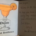 A welcome card and 2 drinks vouchers