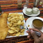 Large cod & chips with curry sauce...
